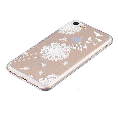 ZXLZKQ Coque pour iPhone 7 (2016) Etui Ultra-mince Transparent Pissenlit Swallows Doux TPU Silicone Case Housse Coque pour iPhone 7 (2016) (non applicable iPhone 7 Plus 2016)