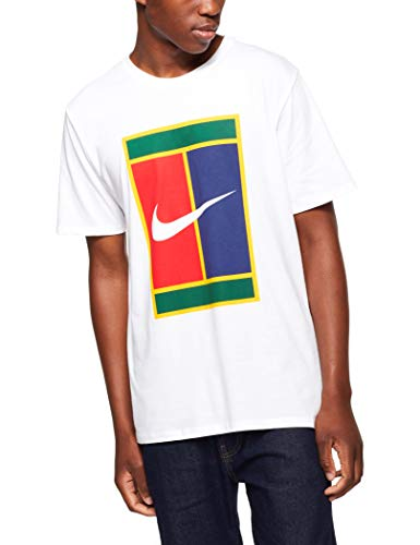 Nike Men's White/Court Heritage Logo Tee Graphic T-Shirt - L