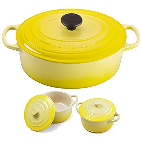 Le Creuset Signature Soleil Yellow Enameled Cast Iron 5 Quart Oval French Oven with 2 Free Stoneware Cocottes