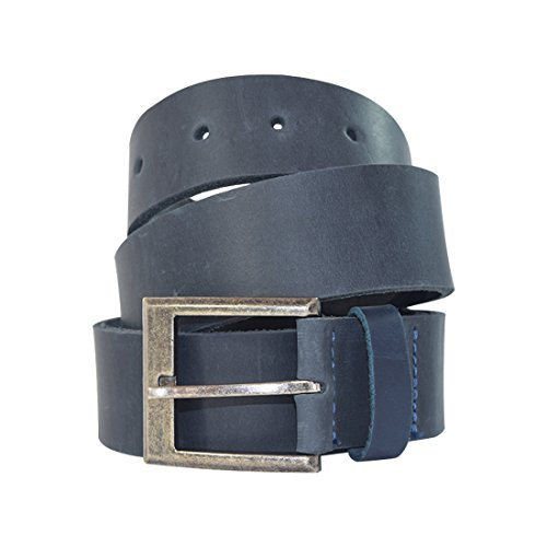 Men's Rustic Thick Leather Belt Handmade by Hide & Drink :: Slate Blue (Size 36)