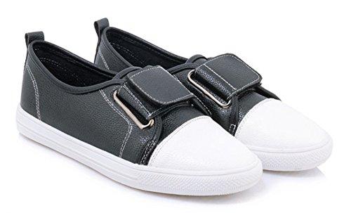 Aisun Womens Décontracté Confortable Bout Arrondi Bas Top Sportive Conduite Voitures Glisser Sur Espadrilles Chaussures Plates Noir
