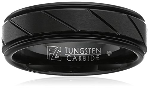 Triton Men's Black Tungsten 7mm Diagonal Cut Comfort Fit Band, Size 10.5 by Amazon Collection