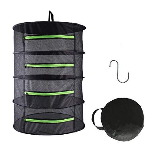 Herb Drying Rack Net Dryer 4 Layer 2ft Black W/Green Zippers Mesh Hydroponics by Hydgooho