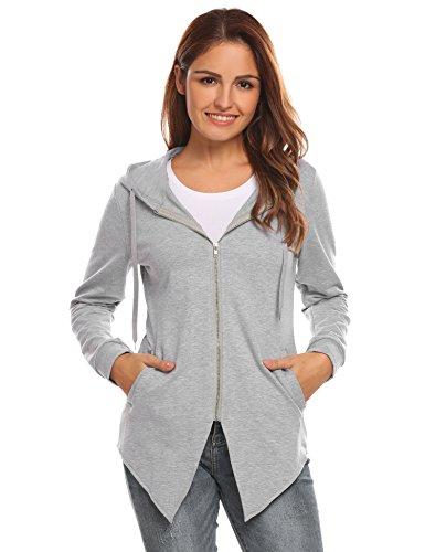 HOTOUCH Women Fashion Jacket Casual Coat Outerwear (Light Gray XL)