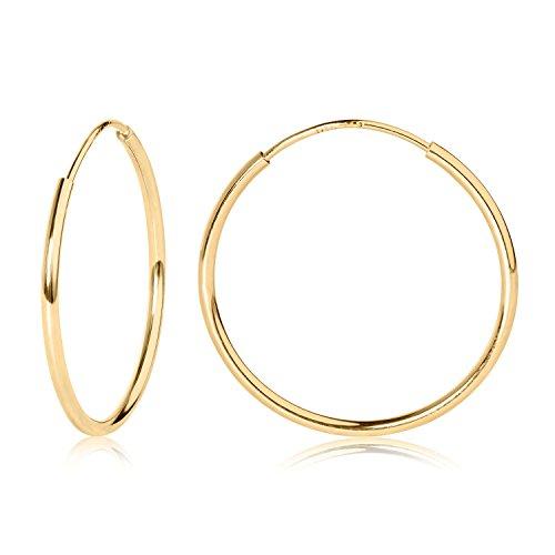 14k YG Endless Hoop Earrings 18mm 41750