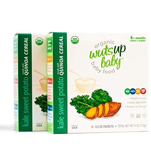 2pk 8X Organic Quinoa Infant & Baby Cereal Travel Packs w/Naturally Rich in Vitamins & Mineral, Complete Protein. Easiest First Foods to Digest. by WutsupBaby – 4oz (8 Packx0.5oz) (Kale&Sweet Potato)