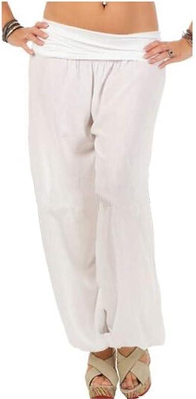 Yying Pantalones Verano Mujer Cintura Alta Elástico Pantalones Algodón Pantalones Playa Pantalones Sueltos Color Sólido 7/8 Longitud Casual Suave Cómodo S-5XL: Amazon.es: Ropa y accesorios