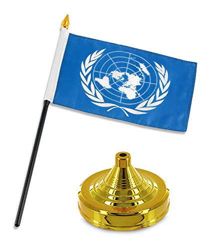 ALBATROS United Nations Flag 4 inch x 6 inch Desk Set Table Stick with Gold Base for Home and Parades, Official Party, All Weather Indoors -
