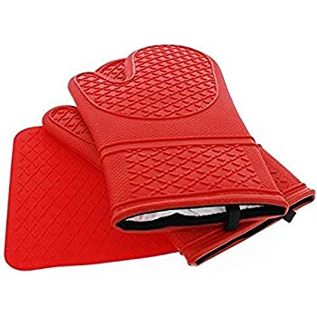 Elbee Home 641 Premium Silicone Oven Mitts and Pot Holder Set Soft Quilted Interior in in, Red