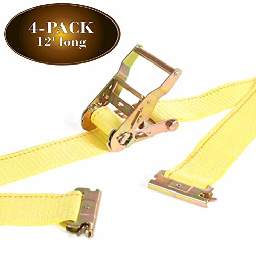 DC Cargo Mall 4 E Track Ratcheting Straps Cargo TieDowns, 2 x 12 Heavy Duty Yellow Polyester Tie-Down Straps, Strong Ratchet, ETrack Spring Fittings, Tie Down Motorcycle, Trailer Load (4)
