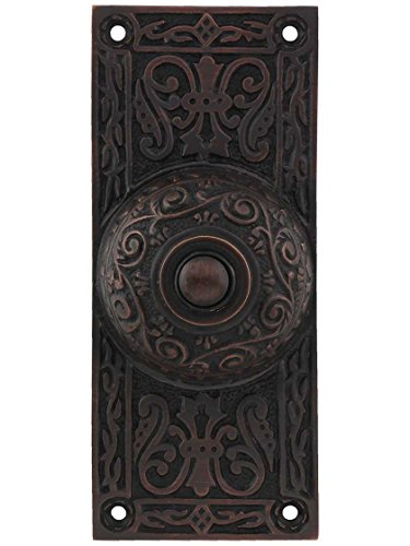Victorian Bronze Hardware - House of Antique Hardware R-010MG-314-OB Large Victorian Solid-Brass Doorbell Button in Oil-Rubbed Bronze