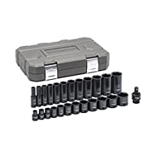 "GearWrench 84919N 25 Pc. 3/8"" Drive 6 Point Standard & Deep Impact SAE Socket Set, Black"