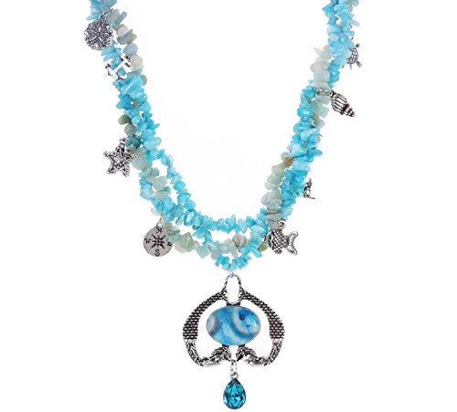 (Novadab Nautical Twin Mermaid Amazonite Necklace with Aqua Colored stones)