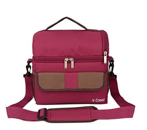 Aluminum Travel Wine Safe - StreamEXplore Lunch Bag Cooler Carry Bag Insulated Tote Large Capacity with Adjustable Shoulder Strap Allerbaby Bento Box Bag Travel Lunch Tote - Wine Red