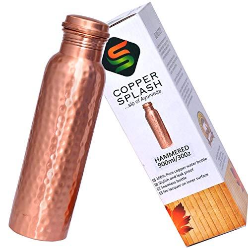 Copper Splash-Copper Water Bottle Hammered-Large-Leak Proof Ayurvedic Pure Copper Vessel for drinking water-Enjoy the Ayurvedic Health Benefits-Holds 30oz