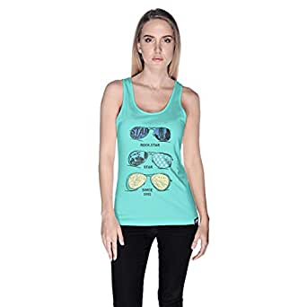 Creo Rock Star Glasses Beach Tank Top For Women - S, Green