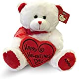 "KINREX Happy Valentine's Day Stuffed Teddy Bear- Teddy Bear to Gift for Valentine's Day for Couples- White Valentines Teddy Bear with Heart Pillow - 11.81"" / 30 cm."