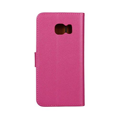 Trumpshop Smartphone Carcasa Funda Protección para Samsung Galaxy S6 edge+ / S6 edge Plus [Púrpura] Cuero Genuino Caja Protector con Función de Soporte Ranuras para Tarjetas Choque Absorción Violeta