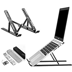"Foaynn Laptop Stand, Ergonomic Portable Foldable Laptop Stand for Desk Adjustable Aluminum Notebook Stand Laptop Holder Compatible with MacBook Air Pro, Dell XPS, HP, Lenovo More 10-15.6"" Laptops"