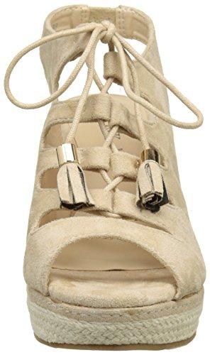 Sandales femmes compensées beiges à talons de 10cm fermées par lacet