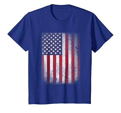 USA Flag T-shirt 4th July 4 Red White Blue Stars Stripes Tee