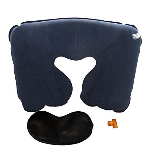 (TANGDA) Comfortable U-Shape Inflatable Travel Pillow+Eye Mask+2 Ear Plug (Dark Blue)