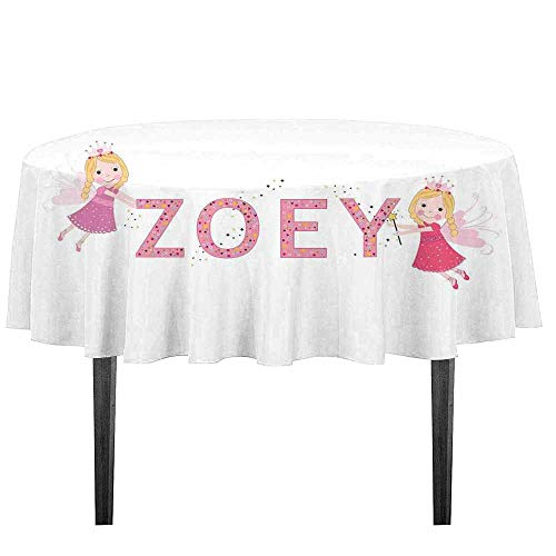 kangkaishi Zoey Waterproof Anti-Wrinkle no Pollution Feminine Themed Baby Girl Name Magic Creatures Calligraphic Alphabet Letter Design Table Cloth D43.3 Inch Multicolor (Best Arabic Names For Girl Baby)