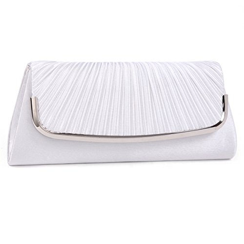Satin Womens Damara Damara Womens White Clutch Pleated Evening Simple Bag wZqXPaPR6