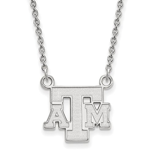 Jewel Tie 925 Sterling Silver Texas A&M University Small Pendant with Necklace (15mm)