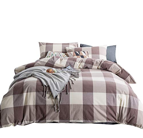 SUSYBAO 3 Pieces Duvet Cover Set 100% Natural Washed Cotton Queen Size 1 Duvet Cover 2 Pillowcases Luxury Soft Breathable Comfortable Lightweight Durable Khaki Checkered Plaid Bedding with Zipper ()