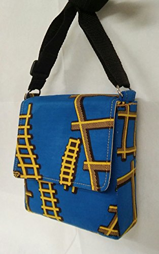 Blue and Yellow Ankara Print Cubique small crossbody shoulder bag made in -
