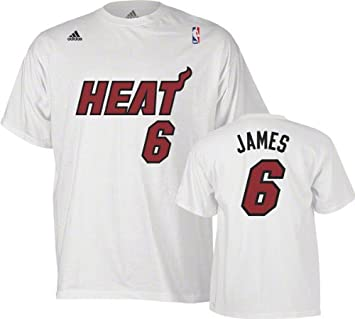 Miami Heat Lebron James White Adidas T Shirt Jersey (Large)