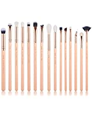 Jessup 15Pcs Eye Makeup Brushes Eyeshadow Brow Liner Eyeshadow Make-up Set Beauty Cosmetics Tools Kits Peach Puff/Rose Gold T447 (peach puff)