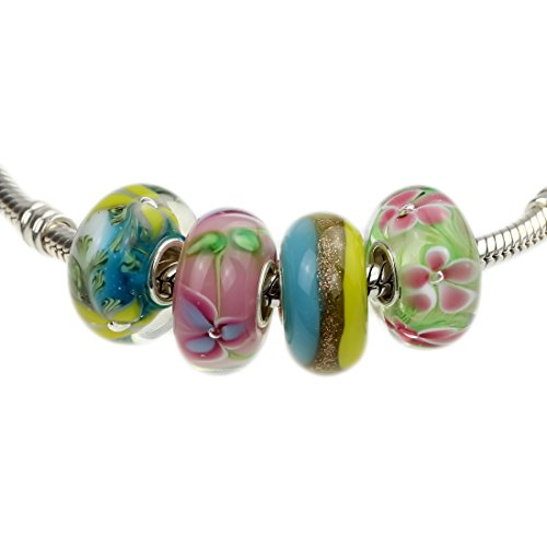 (Tropical Flowers Murano Glass Beads Set with Solid Sterling Silver Single Core Stamped 925 (Bracelet Not Included) )