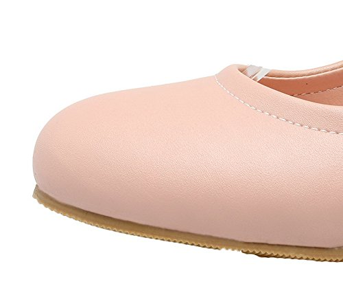 VogueZone009 Women's Solid PU Kitten-Heels Buckle Round-Toe Pumps-Shoes Pink wpYeg