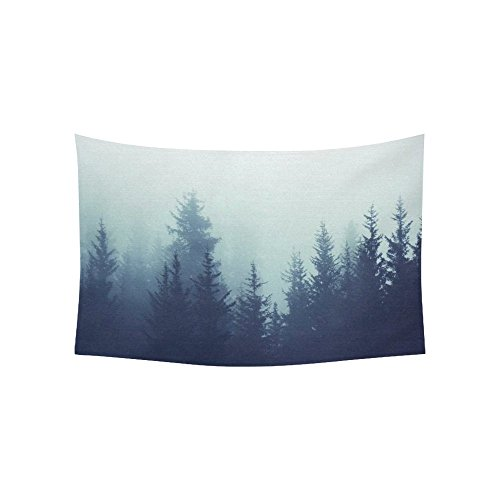 InterestPrint Landscape Nature Scenery Wall Art Home Decor, Mysterious Tree Forest on Fog Mountain Tapestry Wall Hanging Art Sets 60 X 40 Inches (Tapestry Landscape)