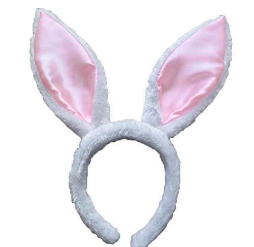(Novelty Giant Soft White & Pink Easter Bunny Ears Headband)