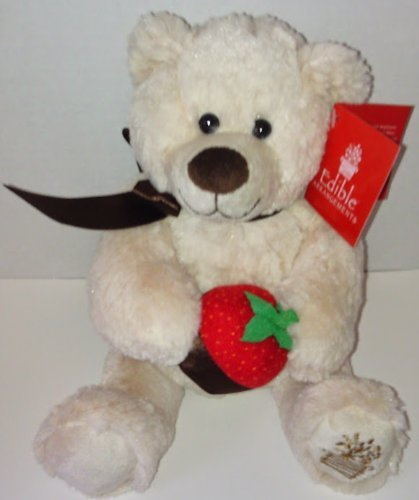 Edible Arrangements Light Brown or Tan Plush Bear Sillting Down While Holding A Chocolate Covered Strawberry by Berry Loved Bear