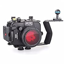 EACHSHOT 40m/130ft Underwater Diving Camera Housing for Canon G5X + Aluminium Diving handle + 67mm Red Filter