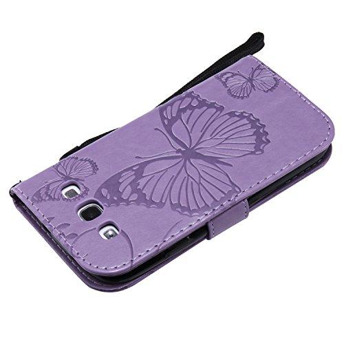 papillon En Violet Portefeuille Neo Bonroy Pour 3d Etui Samsung Galaxy Housse Et i9300 Emplacements Cuir S3 Coque Protection De Support Avec papillon Cartes Fonction Gris YrqSgY