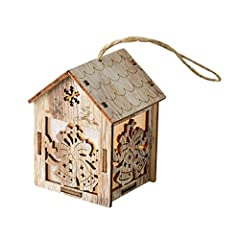 LED Light Wood House Cute Christmas Tree Ornaments Holiday Decoration 8.5x5.8cm Features: 100% brand new and high quality Fine workmanship, wood material, and sleek design Decorate your home with aesthetics and art beauty Can be displayed on ...