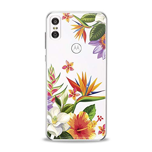 Lex Altern TPU Case for Motorola Moto G7 Power One P30 P40 Note G6 Z4 Floral Blossom Bouquet Clear Watercolor Leaves Drawing Print Protective Pastel Cover Flower Girls Women Flex Soft Silicone Unique]()