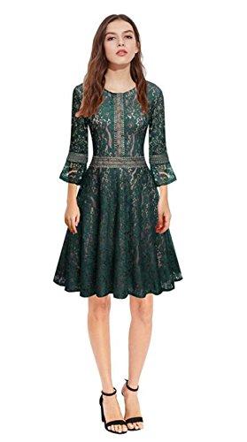 Unie En xl De Moyenne Tyaw green Robe Jupes Femmes Des Manches Longueur Coton Couleur Longues Slim TYXUZY