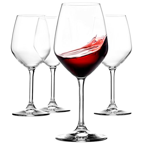 Paksh Novelty Italian Red Wine Glasses - 18 Ounce - Lead Free - Wine Glass Set of 4, Clear (Wine Set Glass)