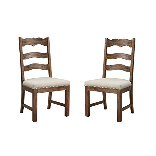 Emerald Home Chambers Bay Rustic Brown Dining Chair with Upholstered Seat, Ladder Back, And Nailhead Trim, Set of Two