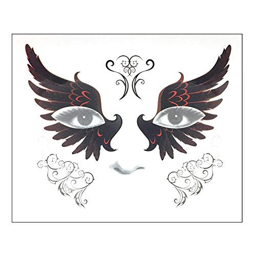 DZT1968  Halloween Temporary Face Art Waterproof Mask Sugar Skull Tattoo Beauty Sticker Perfect for Halloween Makeup and Cosplay (I)]()