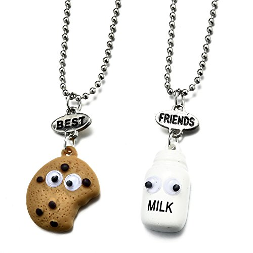 Pibupibu 2 Packs Best Friends Kids Children Resin Pendant Necklace (Cookie&Milk)