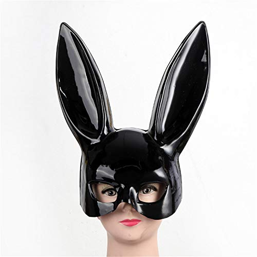 Qiaonai(TM Girl Sexy Rabbit Ears Mask Cute Bunny Long Ears Bondage Mask Halloween Masquerade Party Cosplay Costume Props (Brilliant -