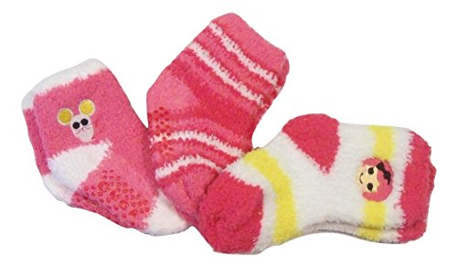 Lalaloopsy 3 Fuzzy Gripper Socks (Crumbs Sugar Cookie; Pink-White Stripe; Mouse) -