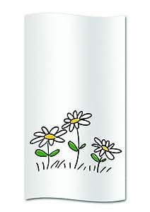 Kela Daisy - Cortina de ducha con estampado (poliéster, 180 x 200 cm), color blanco con diseño de margaritas